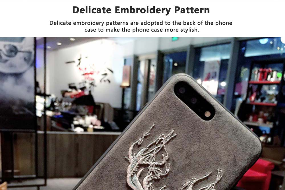 Embroidery Cartoon Flamingo Deer Phone Case, Luxury Soft PC+Silicone Case Cover for iPhone, Vivo, Oppo, Huawei, Creative Stylish Phone Cover 2