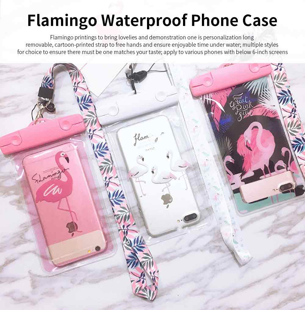 Flamingo Waterproof Phone Case for Apple, Vivo, Outdoor Universally Diving Waterproof Phone Case with Touch Screen and Long Strap to Hang on Neck 0