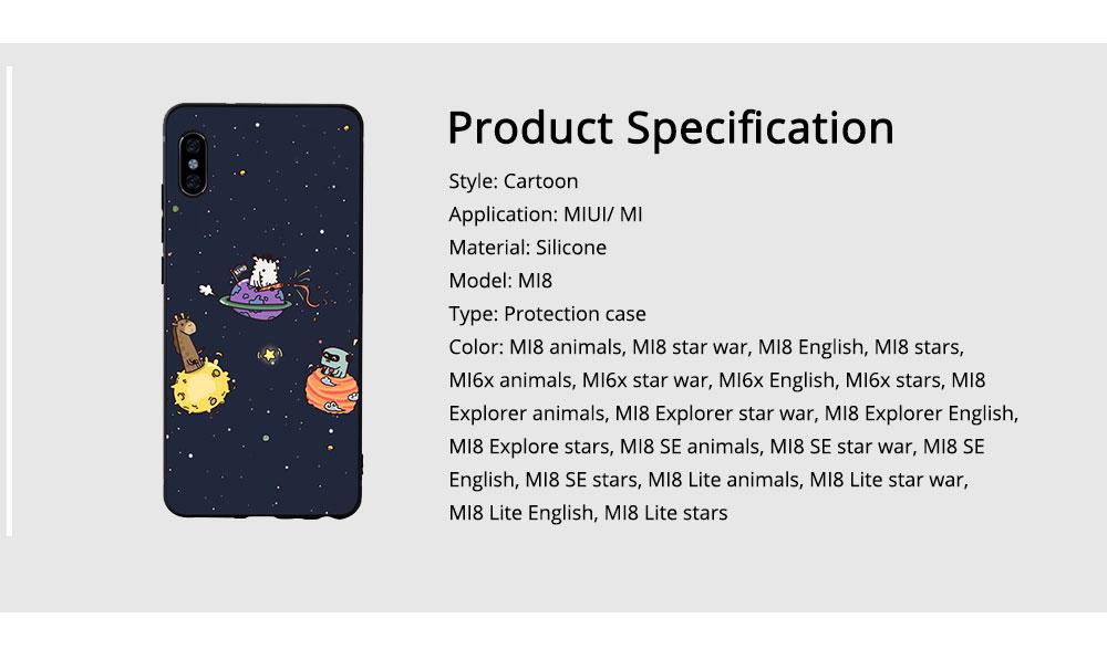 MI Phone Case for MI 8, MI 8 Explorer, MI 8 Lite, MI SE, MI 6X, Fingerprint-resistant Soft Silicone Phone Case Cover, Cartoon MI Protection Case 6