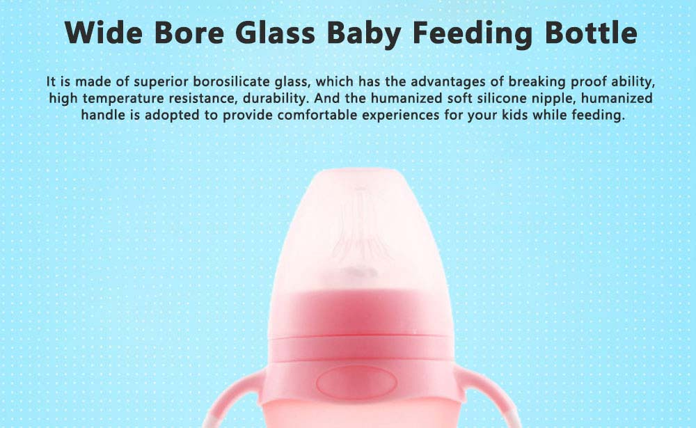 Anti Flatulence Nipple Nursing Bottle for Newborn Babies, Anti-breaking Borosilicate Wide Bore Glass Bottle 0