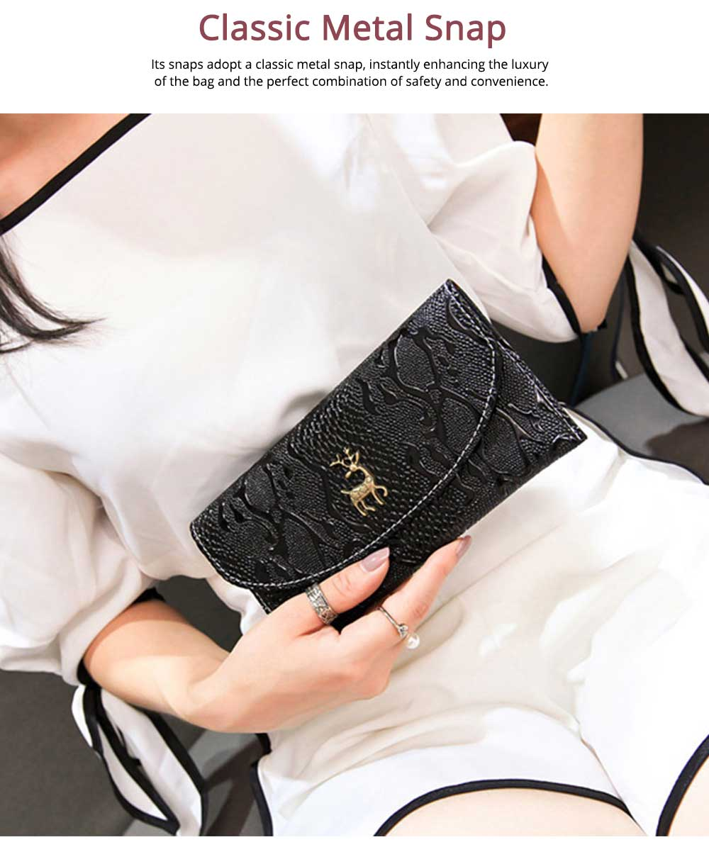 Two-fold Snake Leather Clutch, Ladies Sleek Minimalist Buckle Wallet with Card Holder, Coins Pocket, Driving License Card Slot 5