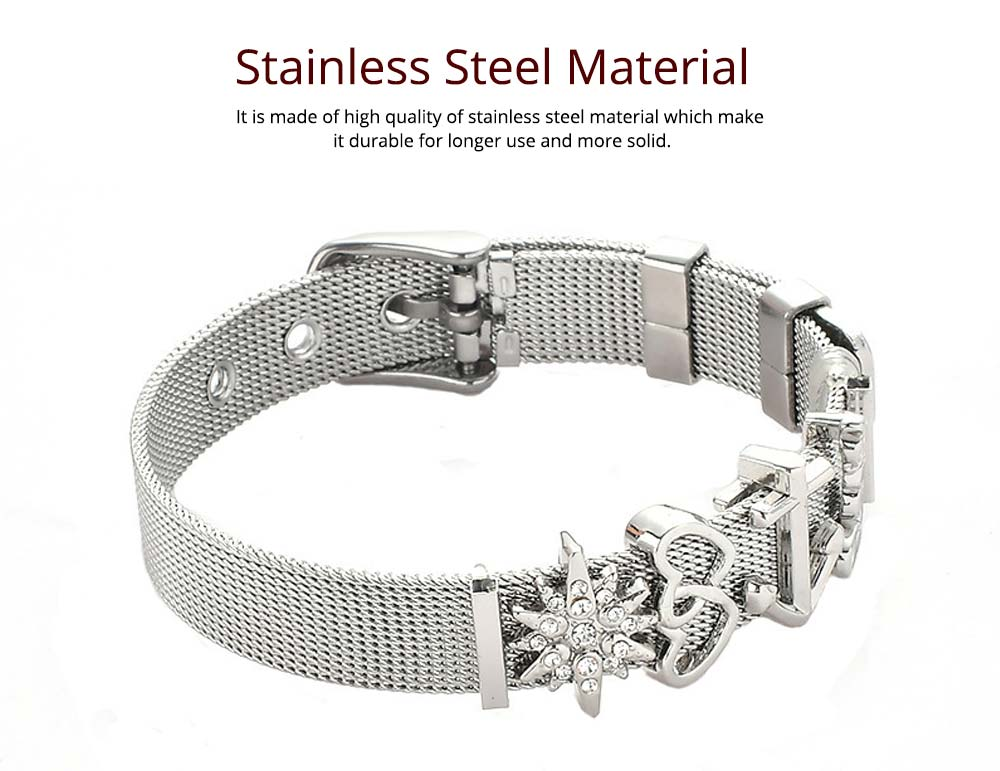 Simple Heart Shape Stainless Steel Bracelet Real Gold Plating for Couple and Fashion People 2