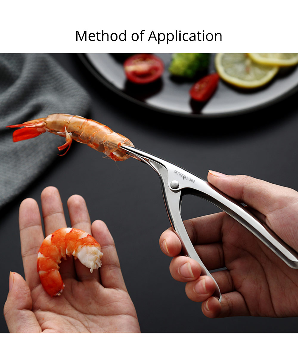 304 Stainless Steel Prawn Peeler Shrimp Peel Device Creative Kitchen Tools for Household Simple Operation Corrosion Resistance Shrimp stripper 6