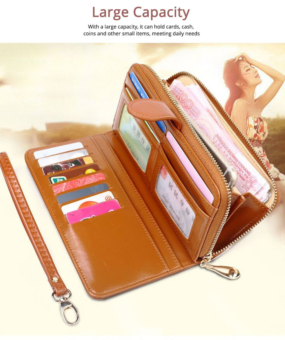 Women Handbag Long Zipper Phone Case Pouch, Fashion Clutch for Female, High-quality Oil Wax Leather Wallet Cash Card Bag 2019 5
