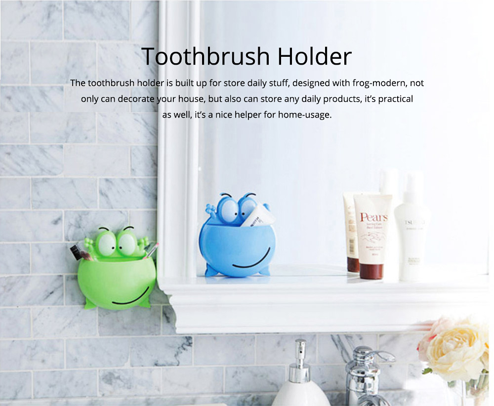 PP Wall-mounted Toothpaste Container, Toothbrush Holder Frog-modern for Bathroom Kitchen 0