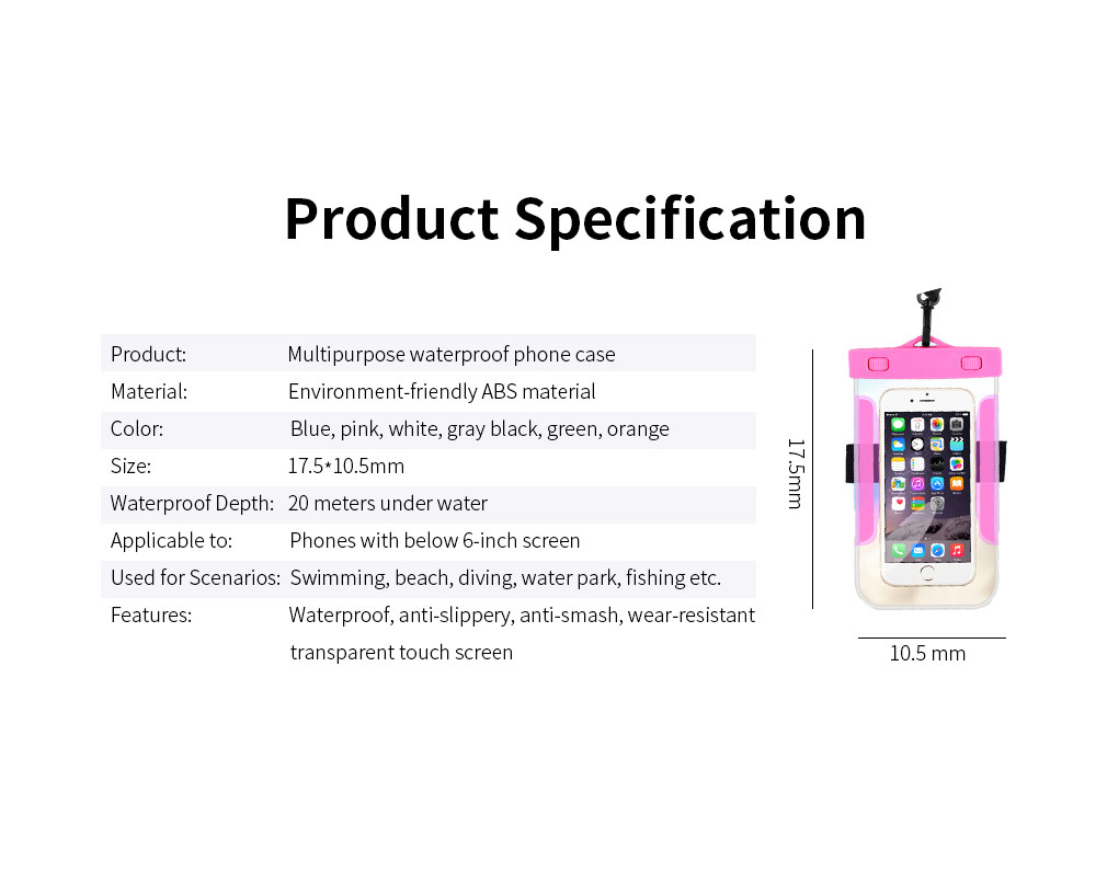 Universal Waterproof Anti-dust Phone Case, Transparent PVC Diving Touch Screen Phone Case for iphone7/6s 7