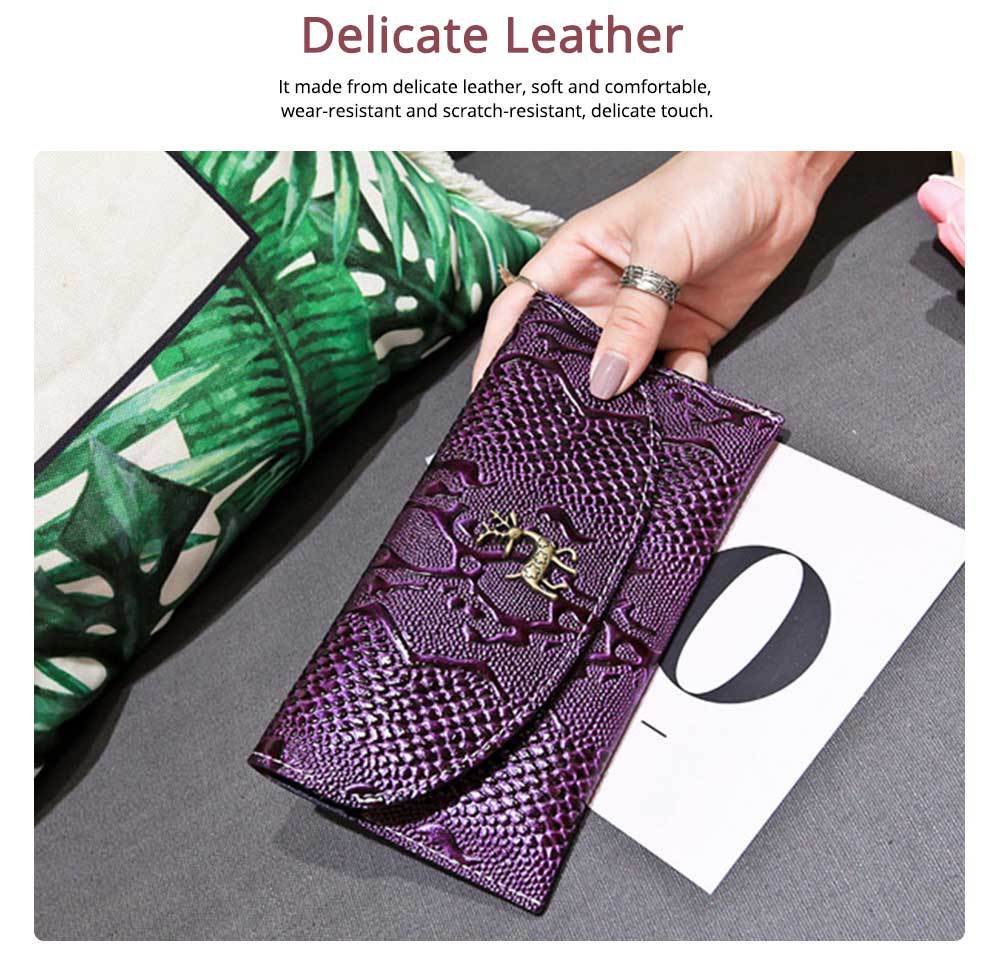 Two-fold Snake Leather Clutch, Ladies Sleek Minimalist Buckle Wallet with Card Holder, Coins Pocket, Driving License Card Slot 4