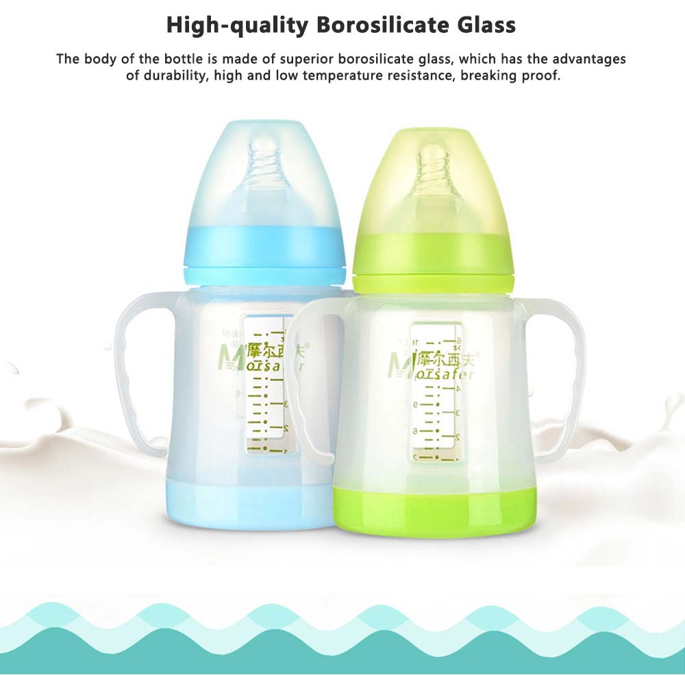 Broad Bore Borosilicate Glass Feeding Bottle, Infants Feeding Bottle With PP Protective Sleeve 1