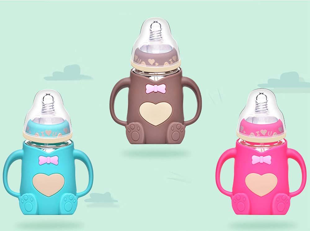 Newborn Baby Borosilicate Glass Feeding Bottle, Bear Infant Feeding Nursing Nipple Bottle with Silicone Handle 7