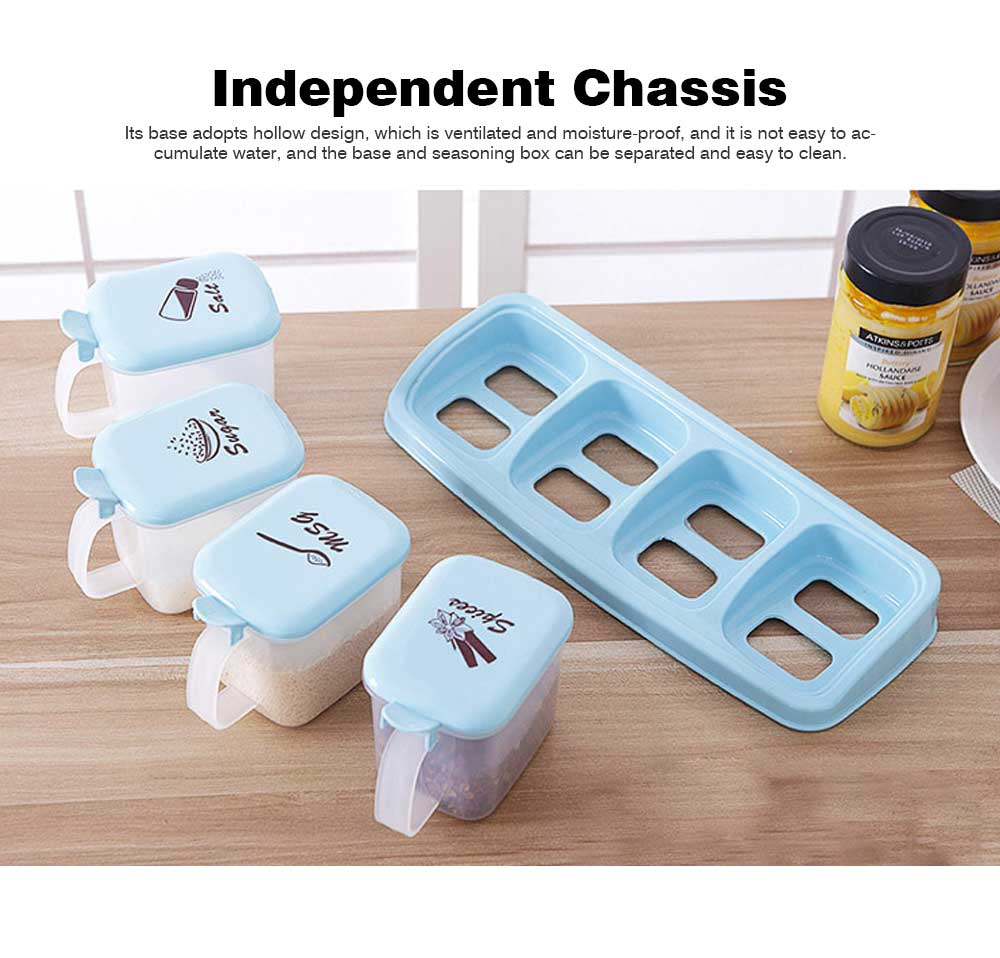 Sealed Independent Compartment Seasoning Jars Set, Kitchen Seasoning Cans for Placing Salt, Sugar, Pepper 3