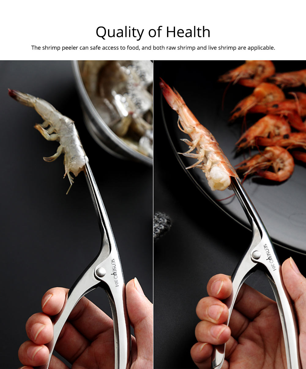 304 Stainless Steel Prawn Peeler Shrimp Peel Device Creative Kitchen Tools for Household Simple Operation Corrosion Resistance Shrimp stripper 5