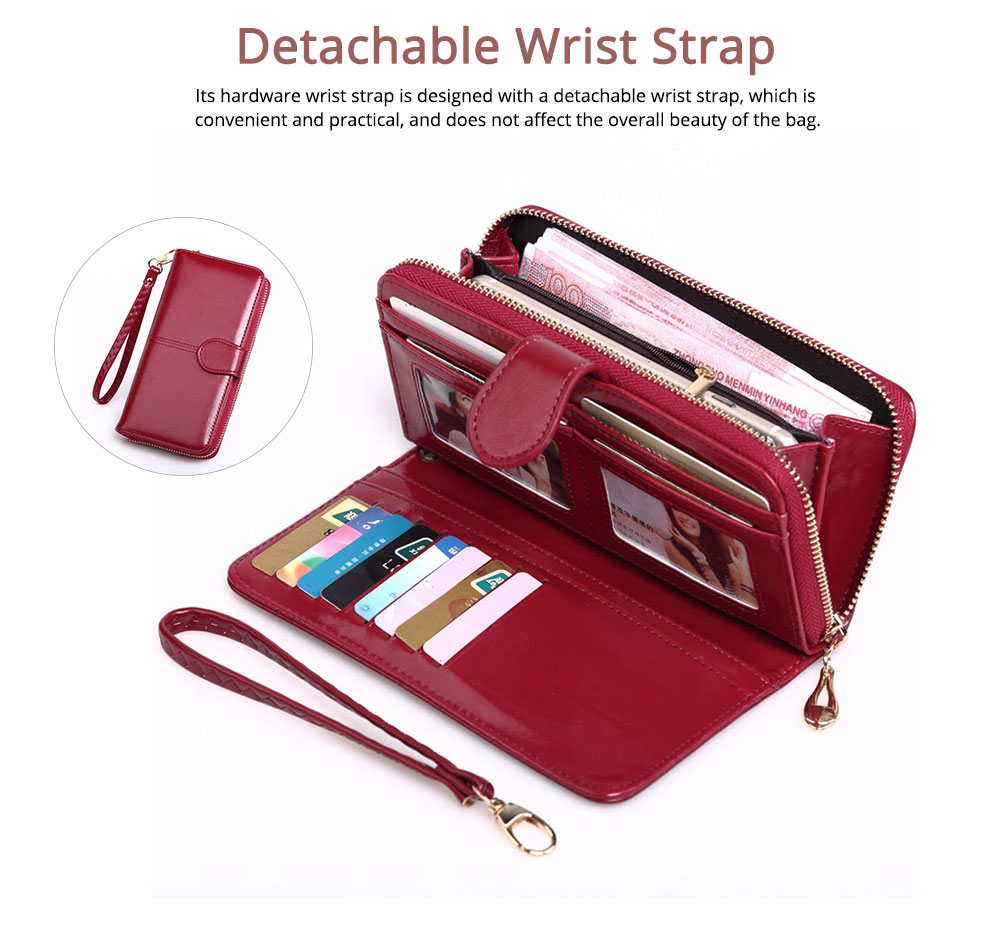Women Handbag Long Zipper Phone Case Pouch, Fashion Clutch for Female, High-quality Oil Wax Leather Wallet Cash Card Bag 2019 2
