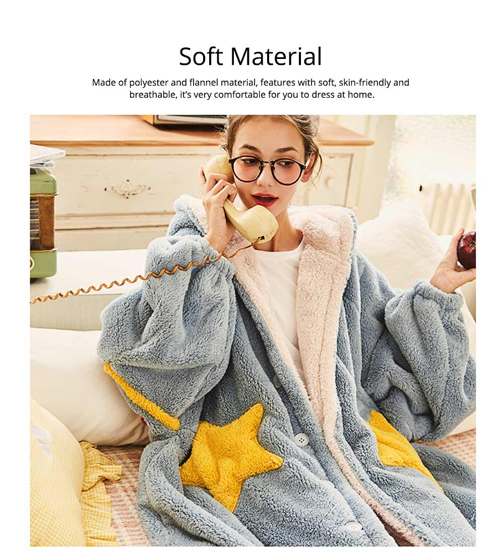 Nightclothes Breathable Sleepwear Long Style for Women Girl Flannel Winter Pajamas 1