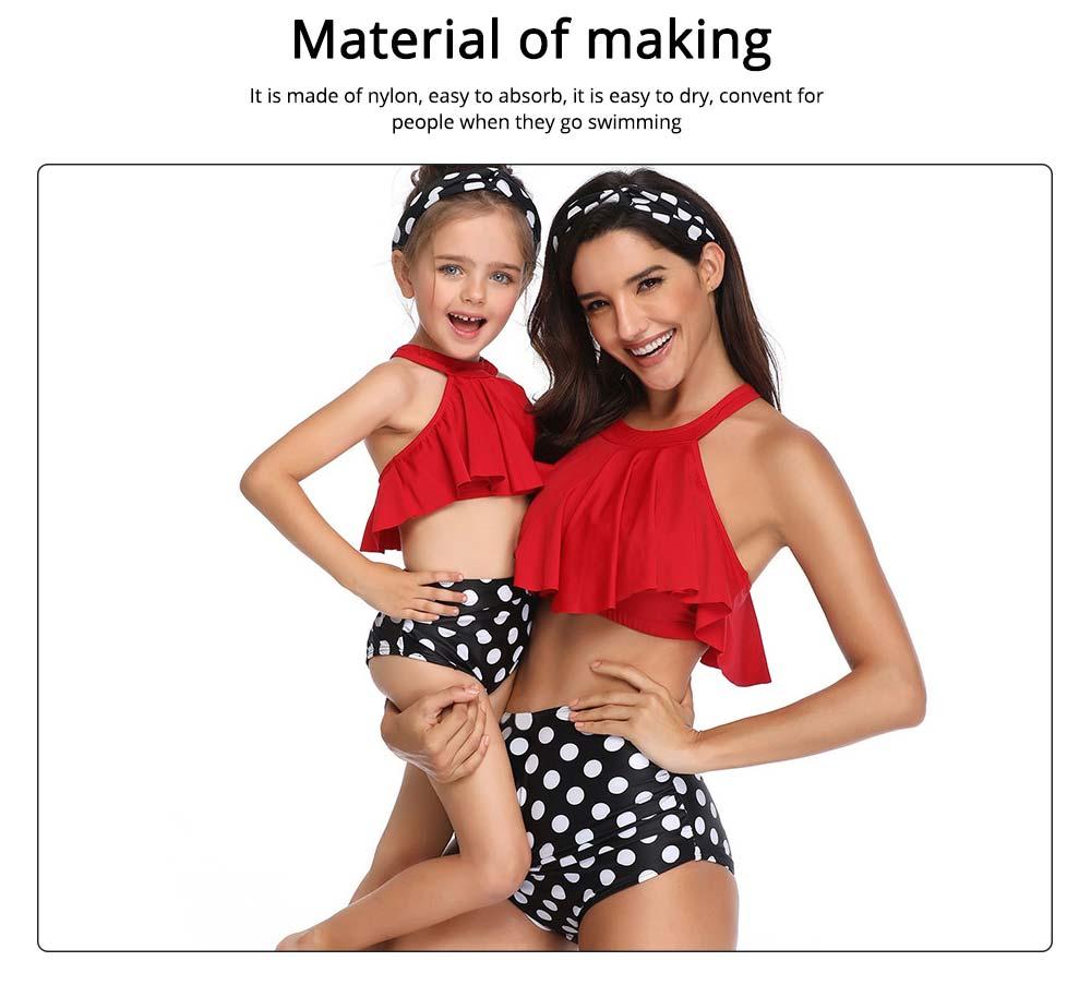 New Style High Waist Ruffle Two Piece Women Girl Fashion Parent-Child Swimsuit Swimwear 4