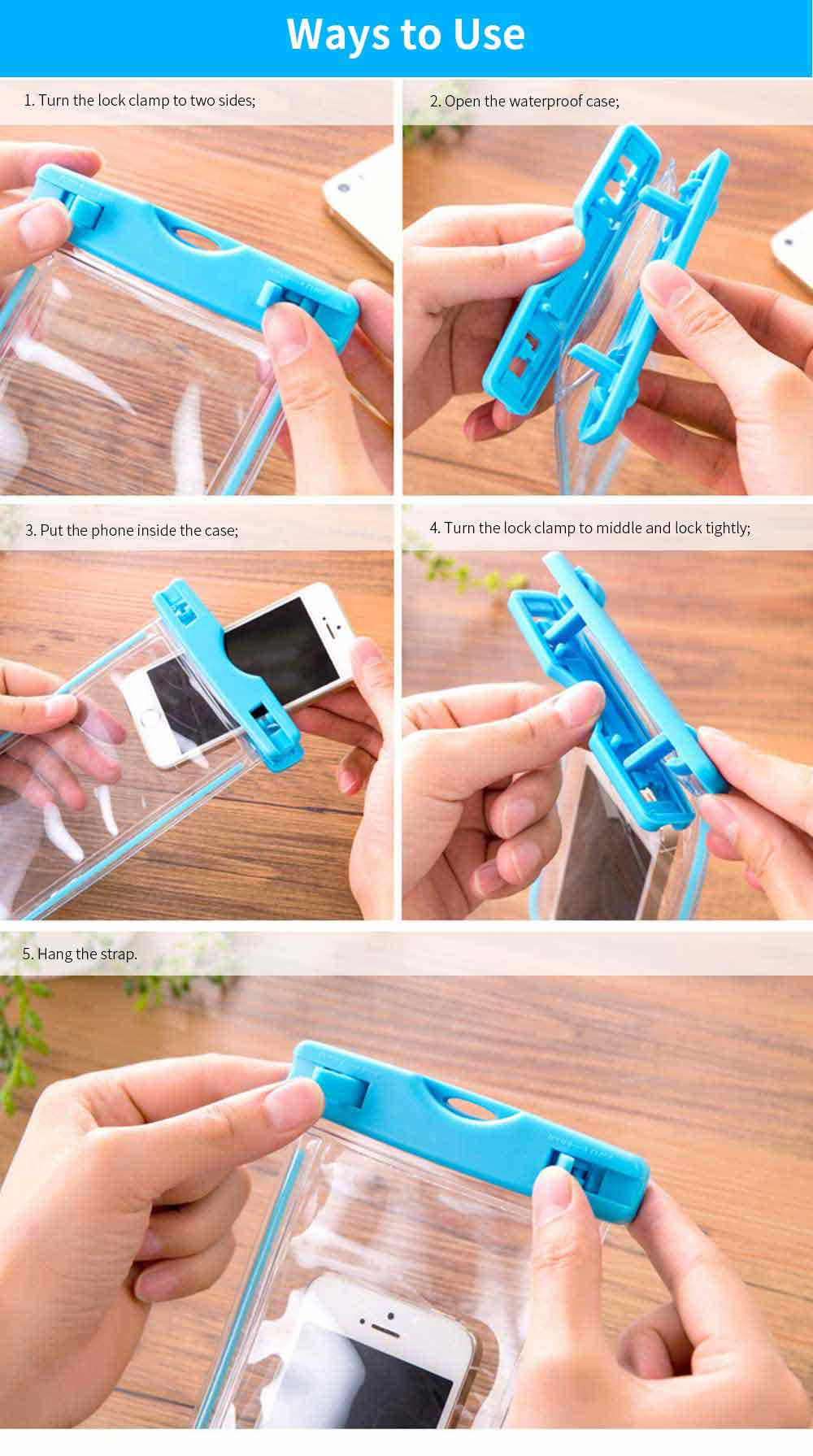 Diving Swimming Purpose Waterproof PVC Phone Case, High-end Transparent Phone Case for Outdoor Activities 7
