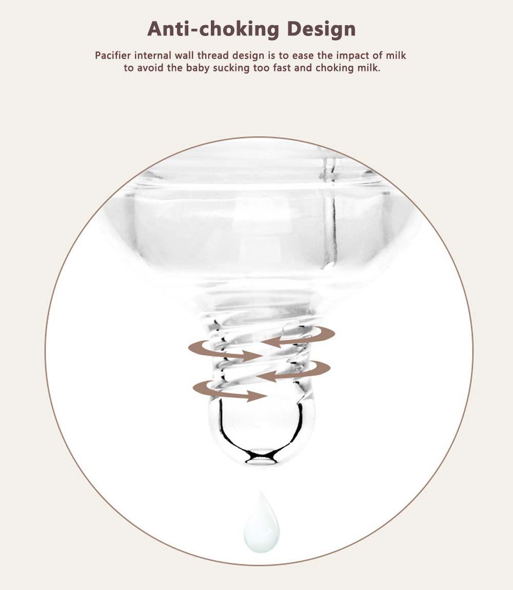 Newborn Baby Borosilicate Glass Feeding Bottle, Bear Infant Feeding Nursing Nipple Bottle with Silicone Handle 3