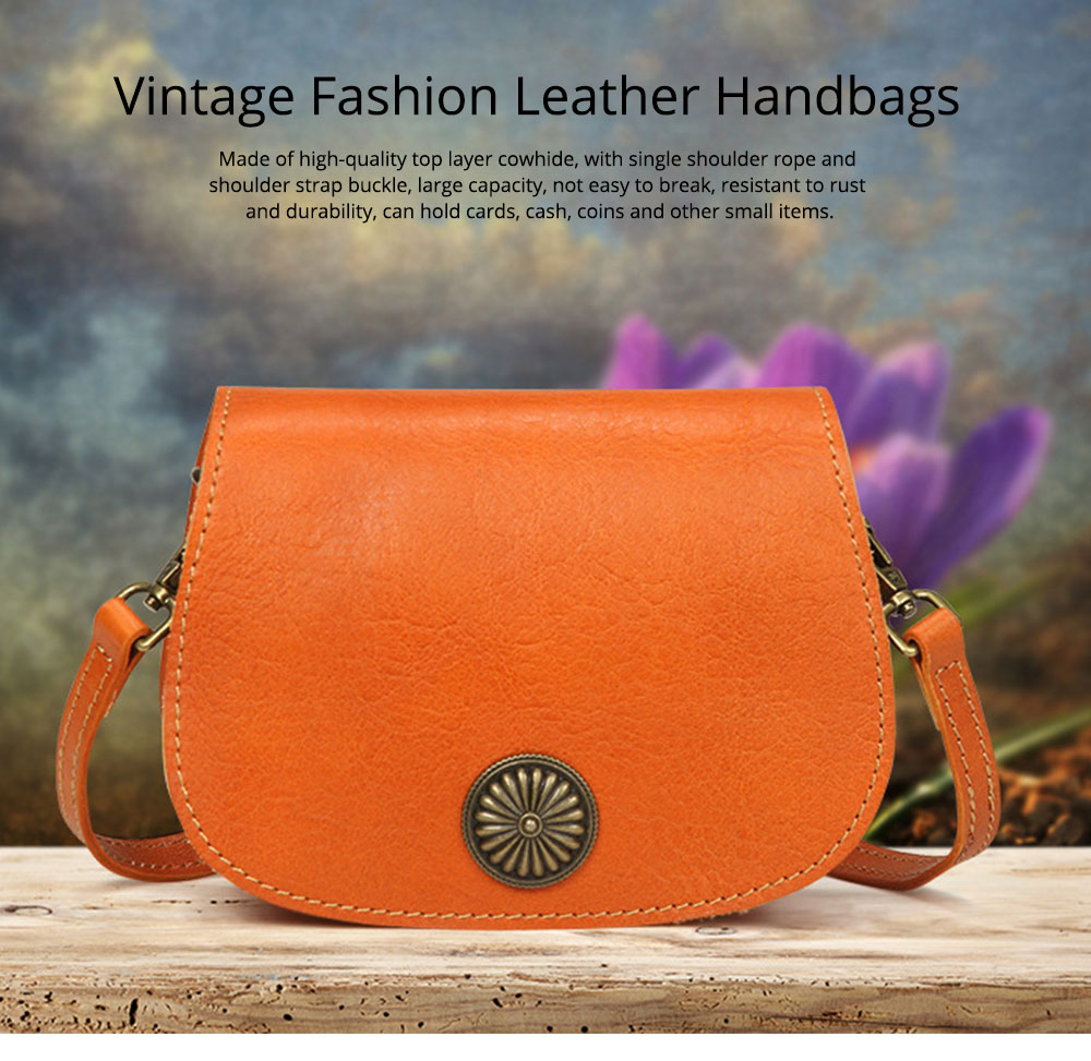 Vintage Fashion Leather Handbags, Vegetable Tanned Ladies Shoulder Bag for Female, Top Cowhide Clutch 0