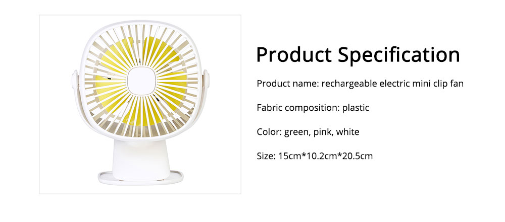 Rechargeable Portable Fan Table Clip Desk 360 Degree Rotation USB Electric Mini Fan with Lithium Cooling Battery 6