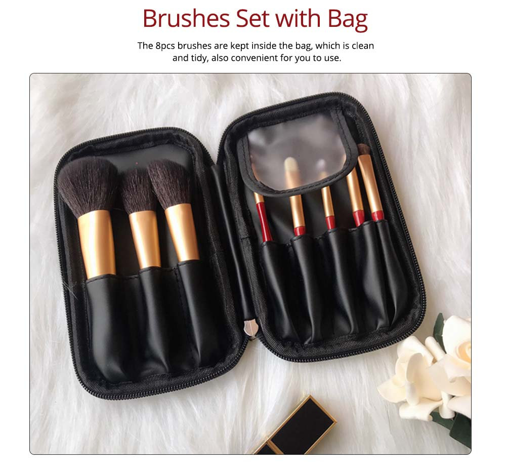 8pcs Red Glaze Makeup Brushes Soft Cosmetic Eyebrow Shadow Brush Tool Set with Bag for Freshman of Makeup 1