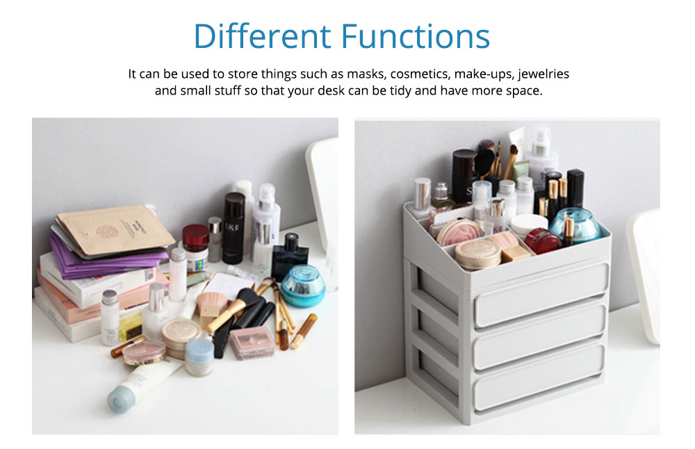 Desk Make Up Cosmetics Container, Plastic Jewelry Organizer Case Drawer Storage Container 1
