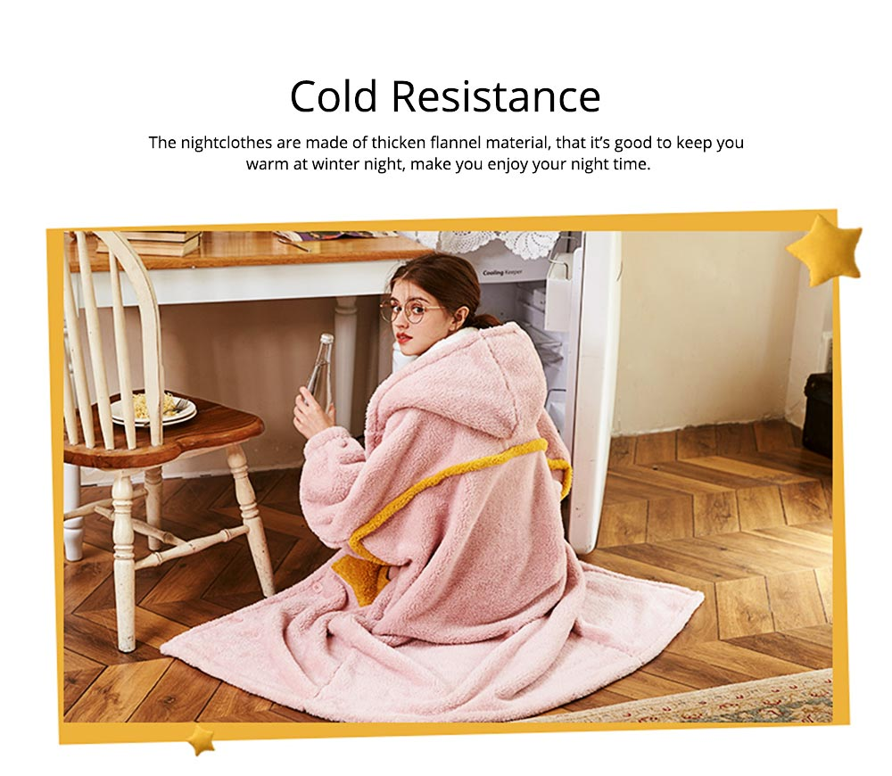 Nightclothes Breathable Sleepwear Long Style for Women Girl Flannel Winter Pajamas 3