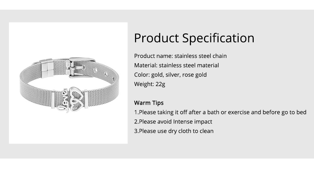 Love Letter Stainless Steel Bracelet Chain, Polished Real Gold Plating Bracelet for Couples, Lovers, Friends 6