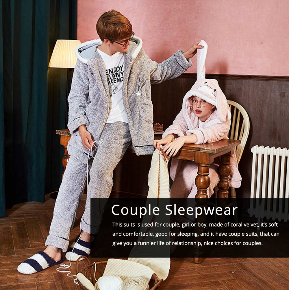 Sleepwear Lovable Nightgown for Couples Girl Boy Men with Thick Coral Velvet Bundle Pajamas Winter 0