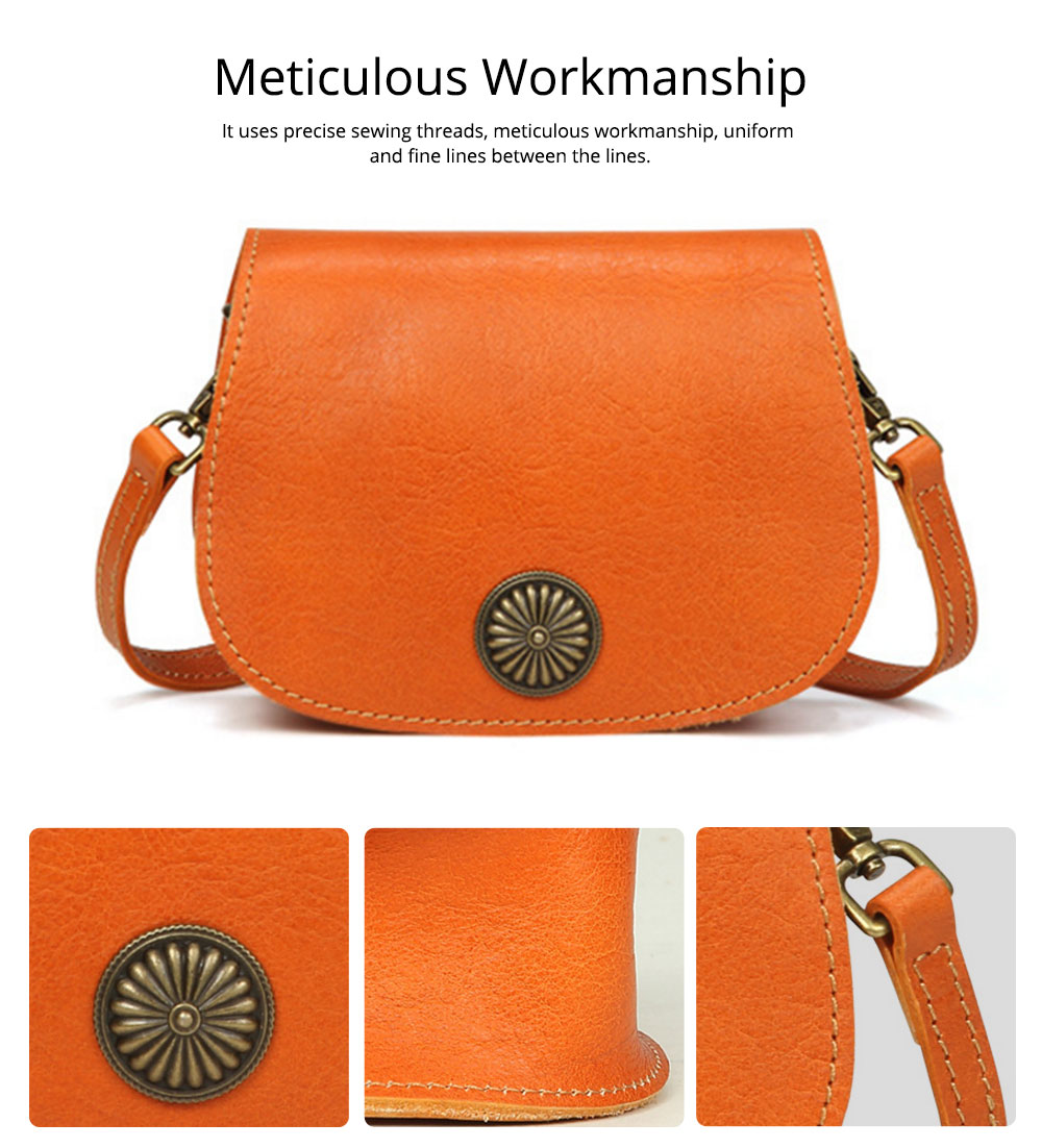 Vintage Fashion Leather Handbags, Vegetable Tanned Ladies Shoulder Bag for Female, Top Cowhide Clutch 6
