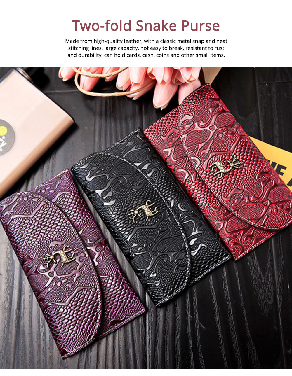 Two-fold Snake Leather Clutch, Ladies Sleek Minimalist Buckle Wallet with Card Holder, Coins Pocket, Driving License Card Slot 0