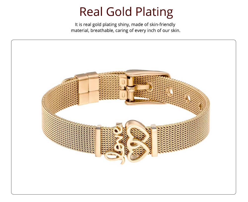 Love Letter Stainless Steel Bracelet Chain, Polished Real Gold Plating Bracelet for Couples, Lovers, Friends 5