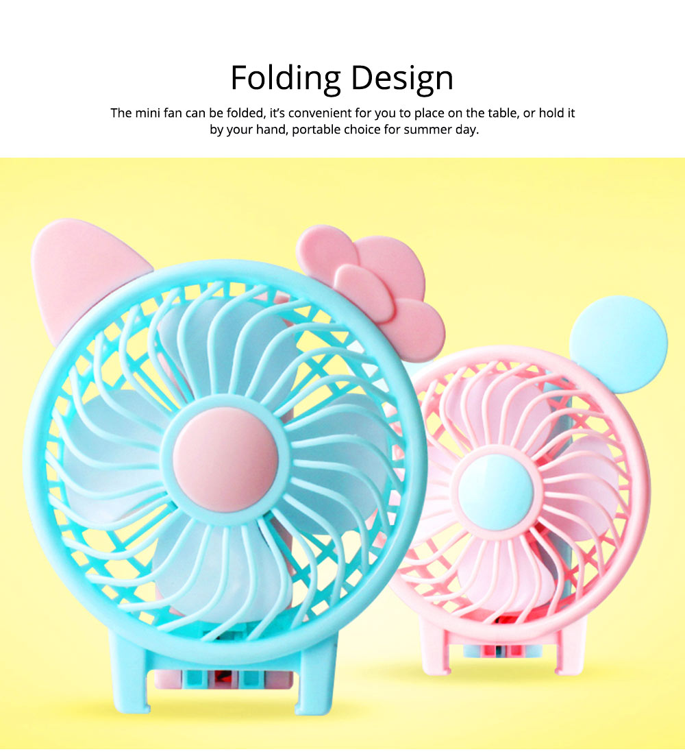USB Handheld Mini Fan Rechargeable for Hot Day ABS Portable Folding Table Fan 3