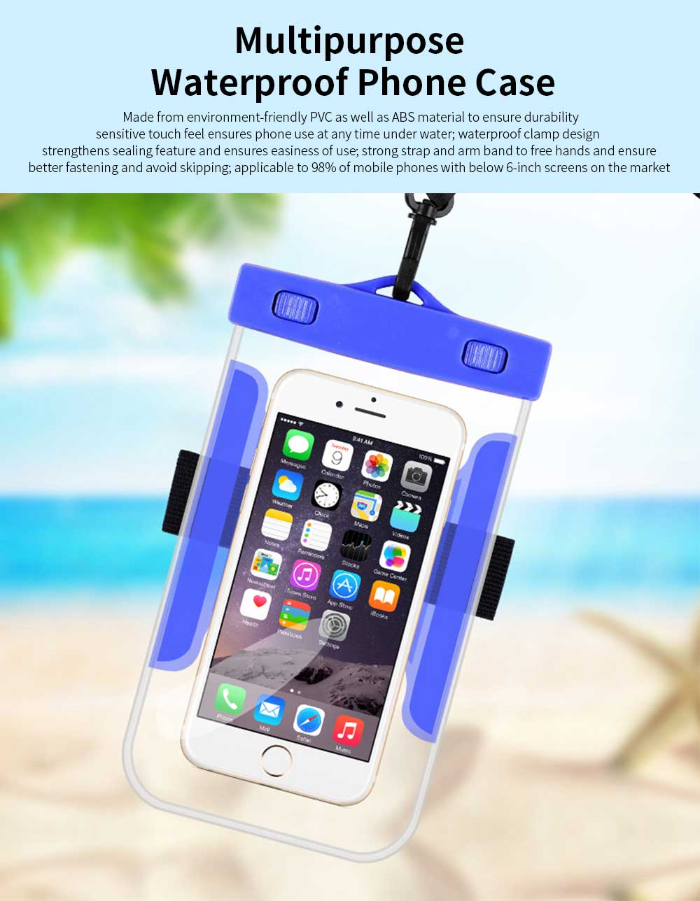 Universal Waterproof Anti-dust Phone Case, Transparent PVC Diving Touch Screen Phone Case for iphone7/6s 0