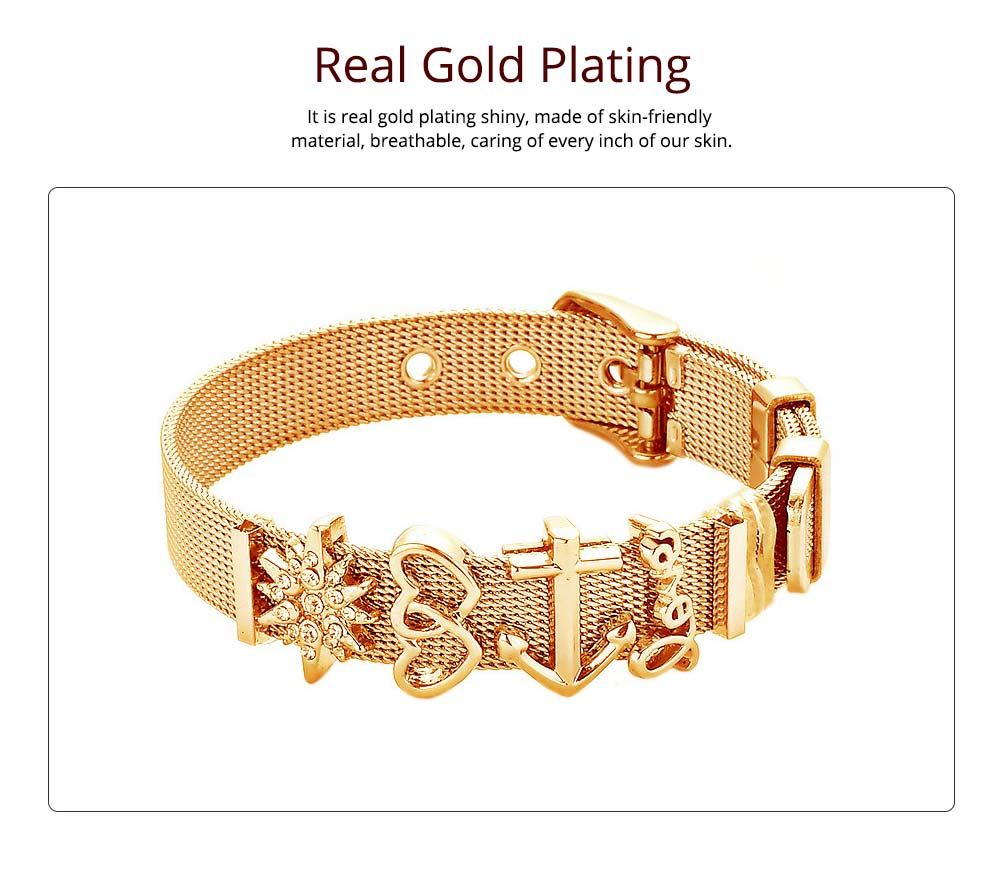 Simple Heart Shape Stainless Steel Bracelet Real Gold Plating for Couple and Fashion People 5