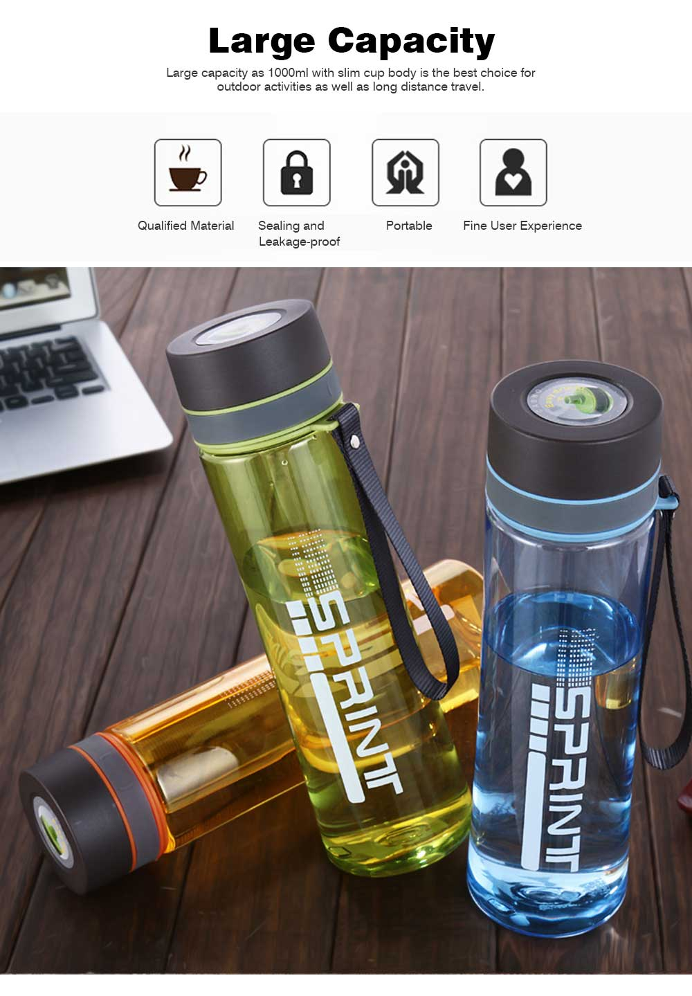 Portable Space Cup with Big Capacity for Students, 1000ml Sports Water Bottle for Outdoor Activities PC Cups 1
