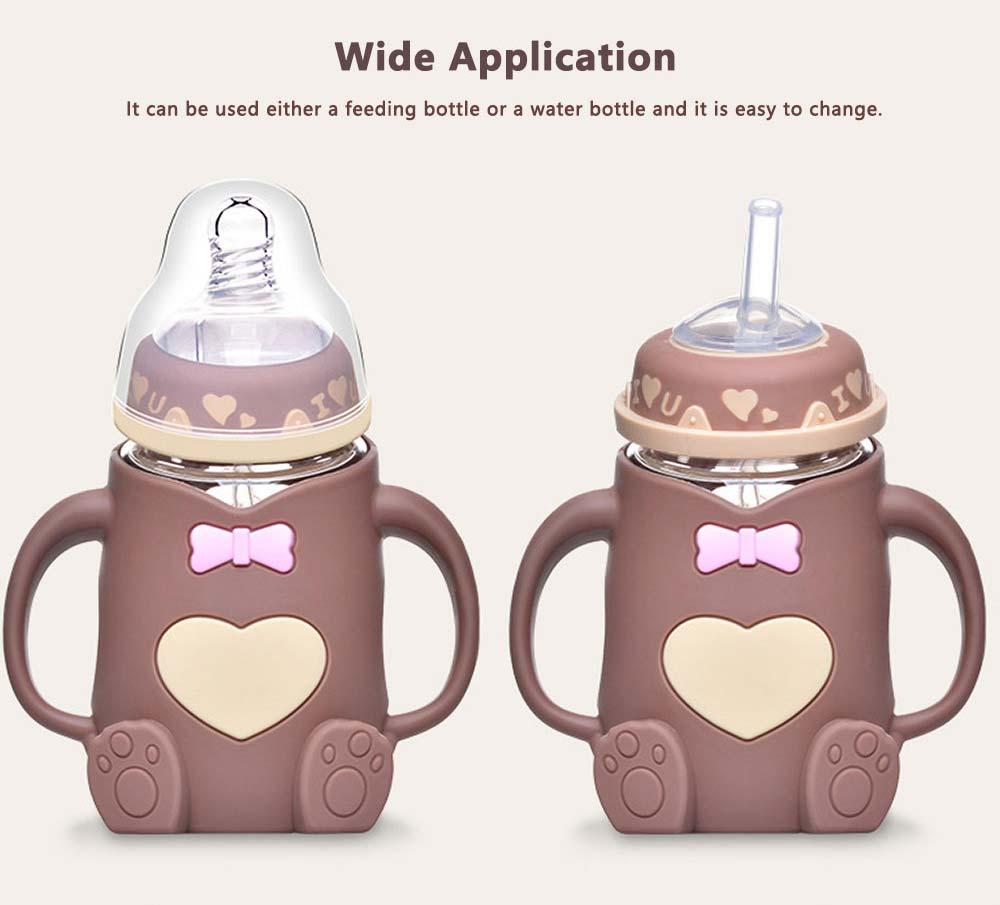 Newborn Baby Borosilicate Glass Feeding Bottle, Bear Infant Feeding Nursing Nipple Bottle with Silicone Handle 6