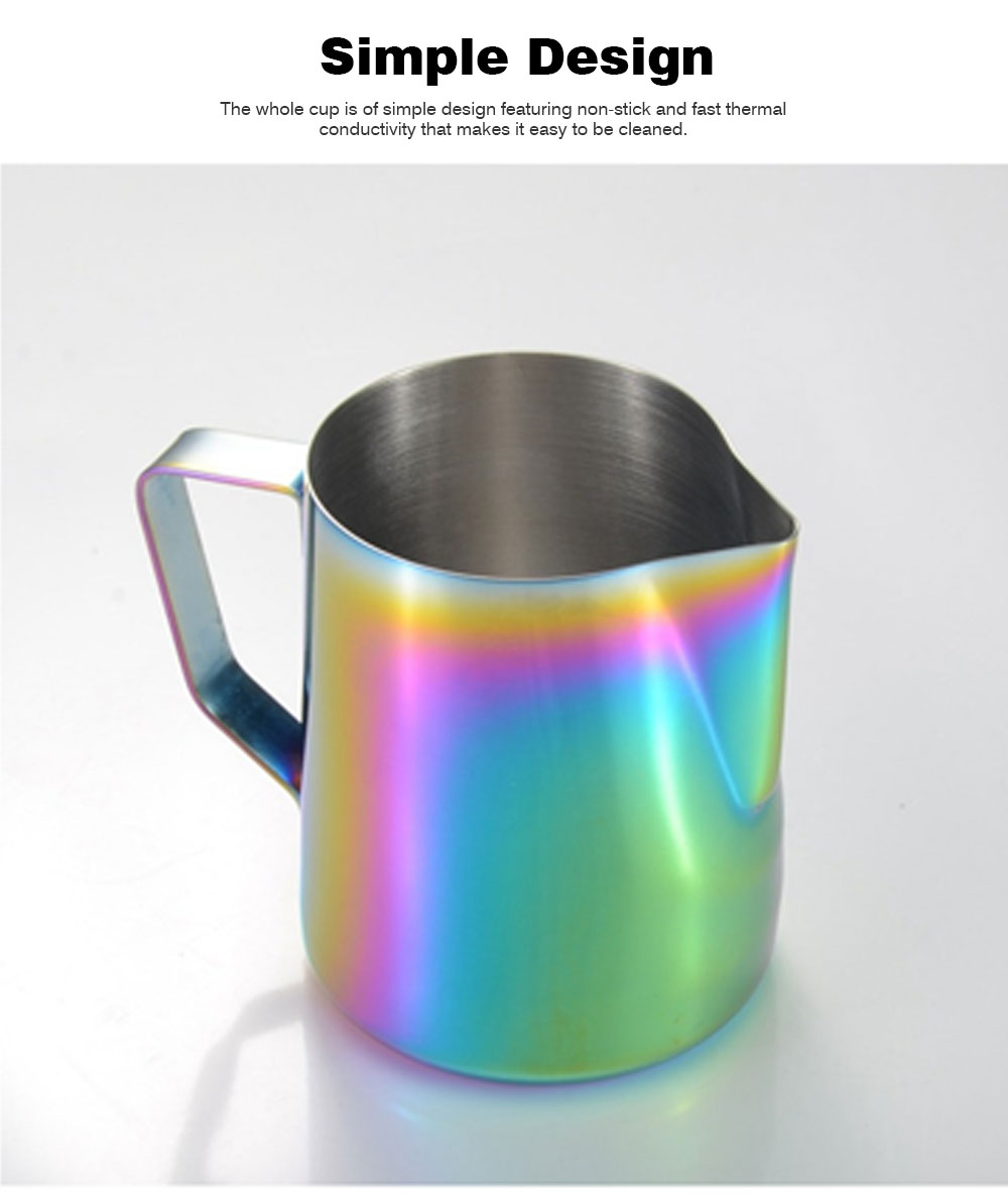 Teflon-coated Stainless Steel Garland Cup with Dazzling Color, 600ml Garland Mug Milk Foam Cup Fancy Cup 4