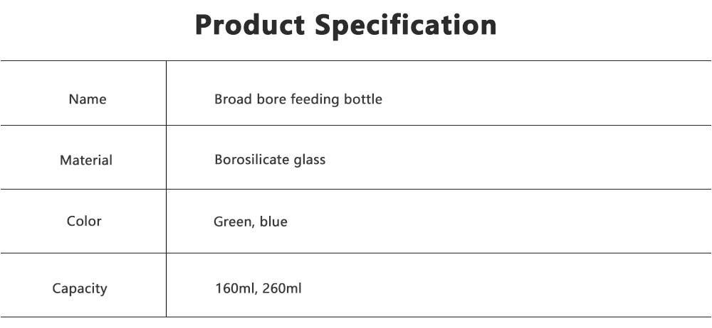 Broad Bore Borosilicate Glass Feeding Bottle, Infants Feeding Bottle With PP Protective Sleeve 7
