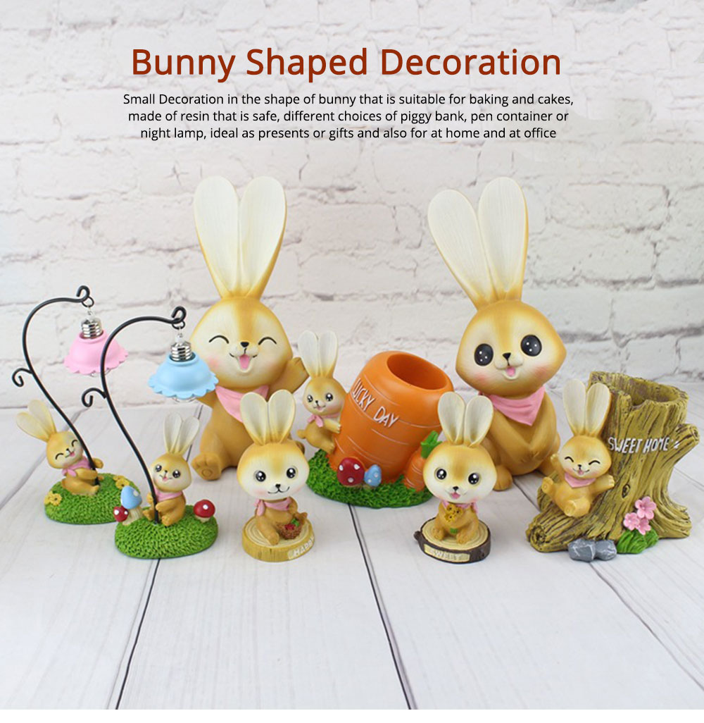 Small Bunny Decoration, Resin Crafts, Bunny Coin Bank, Saving Pot, Pen Container, Night Lamp 0