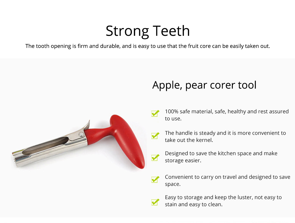 Stainless Steel Apple Pear Corer Tool Creative Fruit Seeder Easy Removal Core Seeder for Household Coring Tool 3