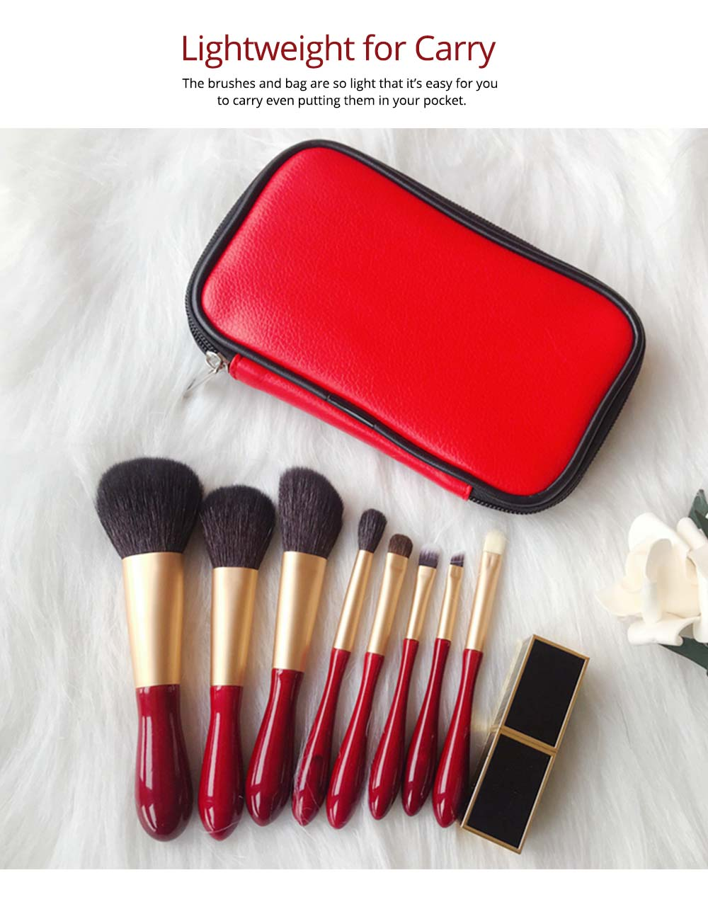 8pcs Red Glaze Makeup Brushes Soft Cosmetic Eyebrow Shadow Brush Tool Set with Bag for Freshman of Makeup 3