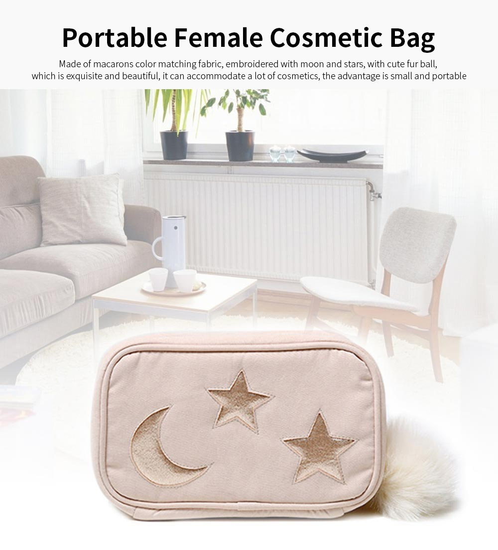 Big Hair Ball Portable Cosmetic Bag, Cute Star Moon Decoration Bag, Rectangular Storage Small Bag For Lady 0