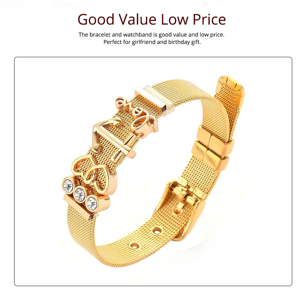 Simple Heart Shape Stainless Steel Bracelet Real Gold Plating for Couple and Fashion People 3