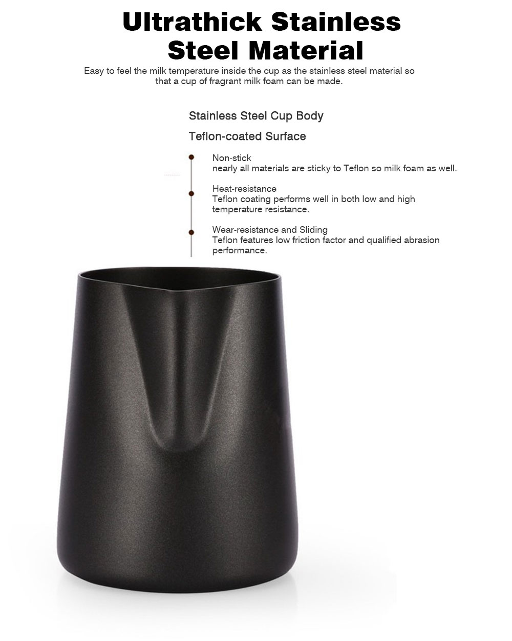 Teflon-coated Garland Cup for Milk Stainless Steel Cup for Milk Non-Stick Milk Mug with 350ml/600ml Coffee Cup 2