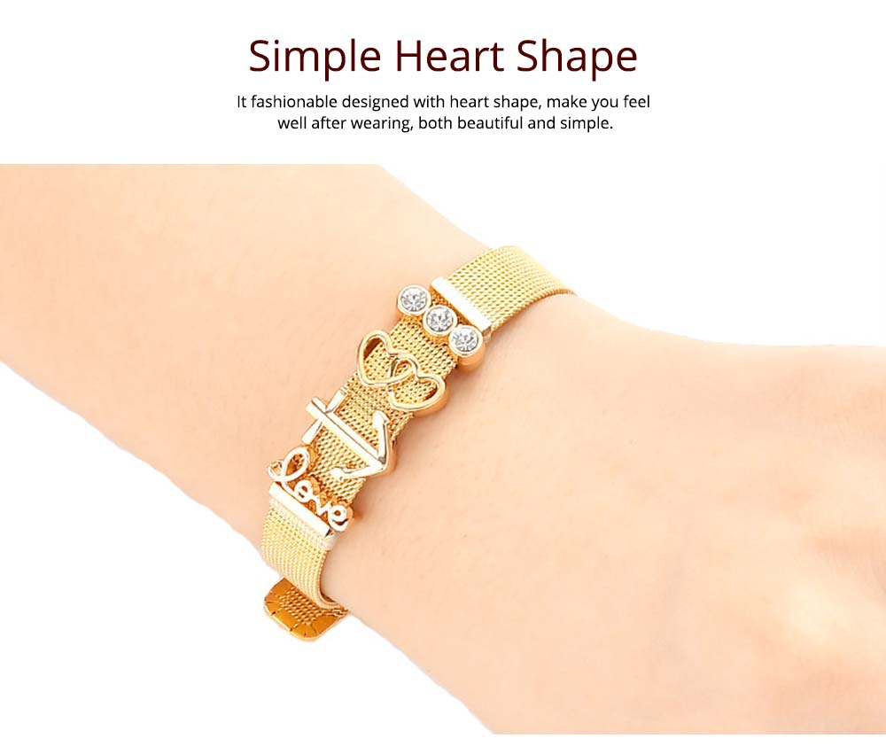 Simple Heart Shape Stainless Steel Bracelet Real Gold Plating for Couple and Fashion People 4