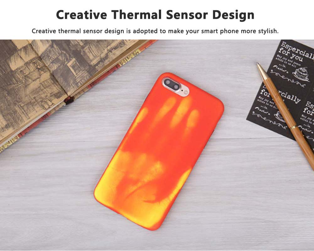 Creative Thermal Sensor Phone Case for iPhone, Minimalist Heat Induction Phone Cover, Luxury Soft PU Phone Case Back Cover 1