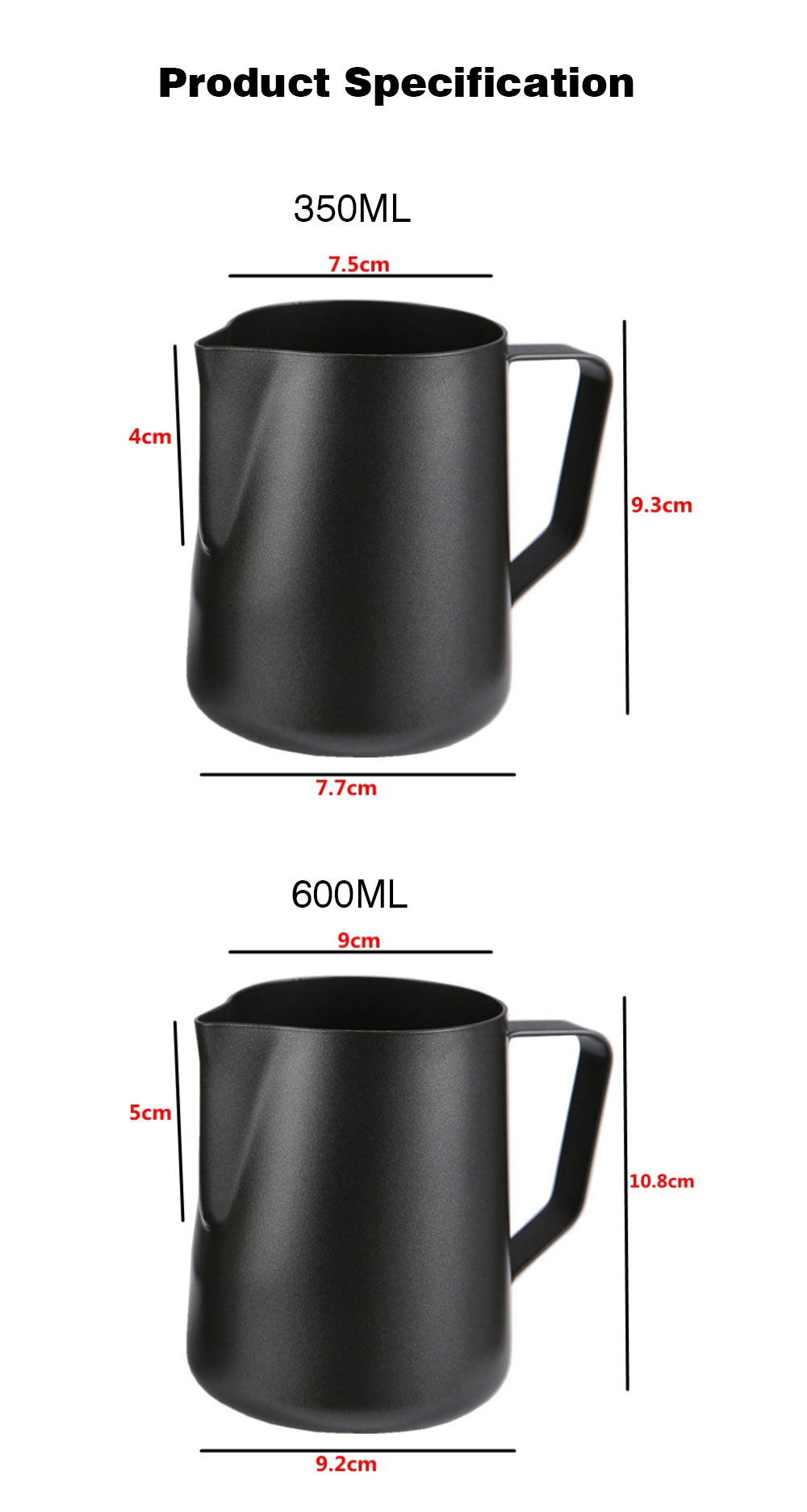 Teflon-coated Garland Cup for Milk Stainless Steel Cup for Milk Non-Stick Milk Mug with 350ml/600ml Coffee Cup 8