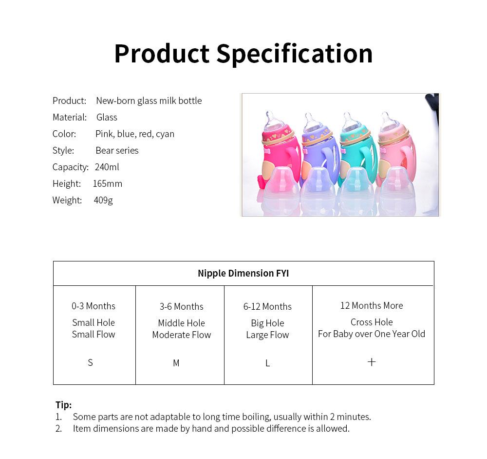 Glass Milk Bottle for Newborn, Wide Mouth Design Glass Feeder Anti-smash Feeding-bottle with Handle Anti-explosive Nursing Bottle 9