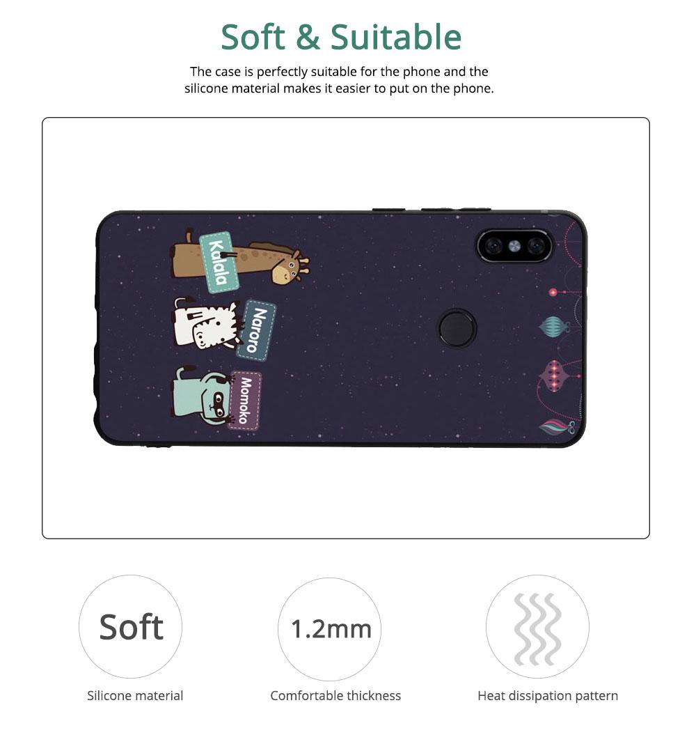 MI Phone Case for MI 8, MI 8 Explorer, MI 8 Lite, MI SE, MI 6X, Fingerprint-resistant Soft Silicone Phone Case Cover, Cartoon MI Protection Case 3