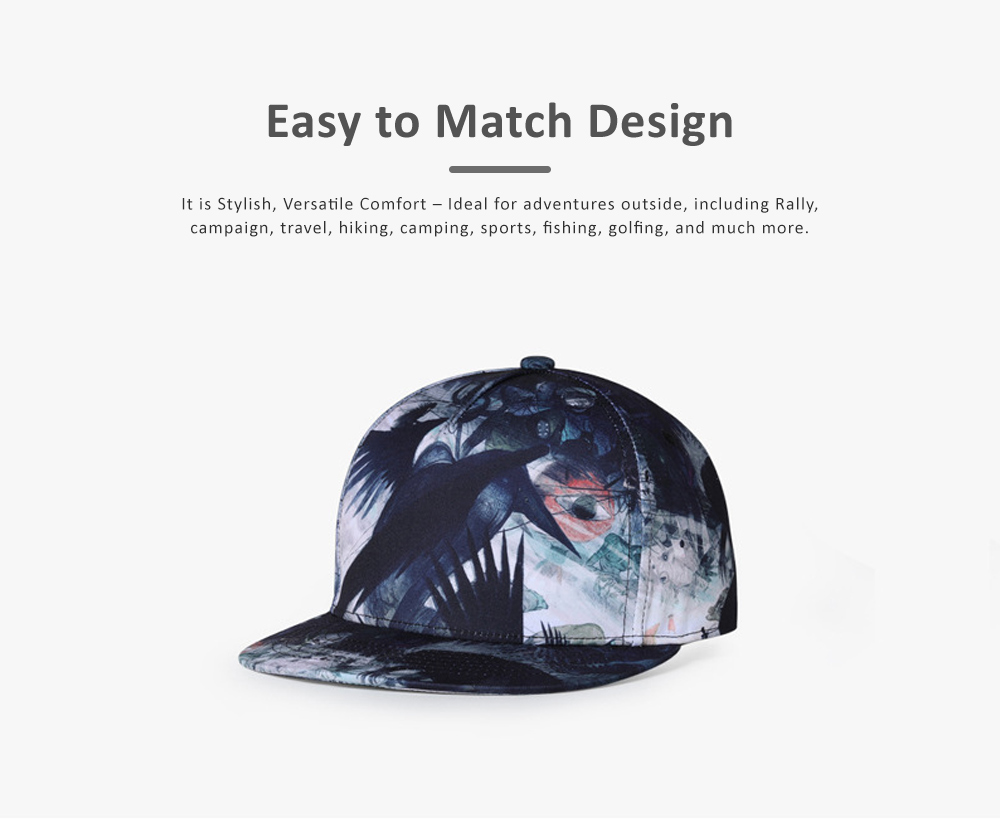 Men Baseball Cap, Adjustable Baseball Snapback Hat, Personality Father's Day Gifts 3D Picture Printed Cap 4