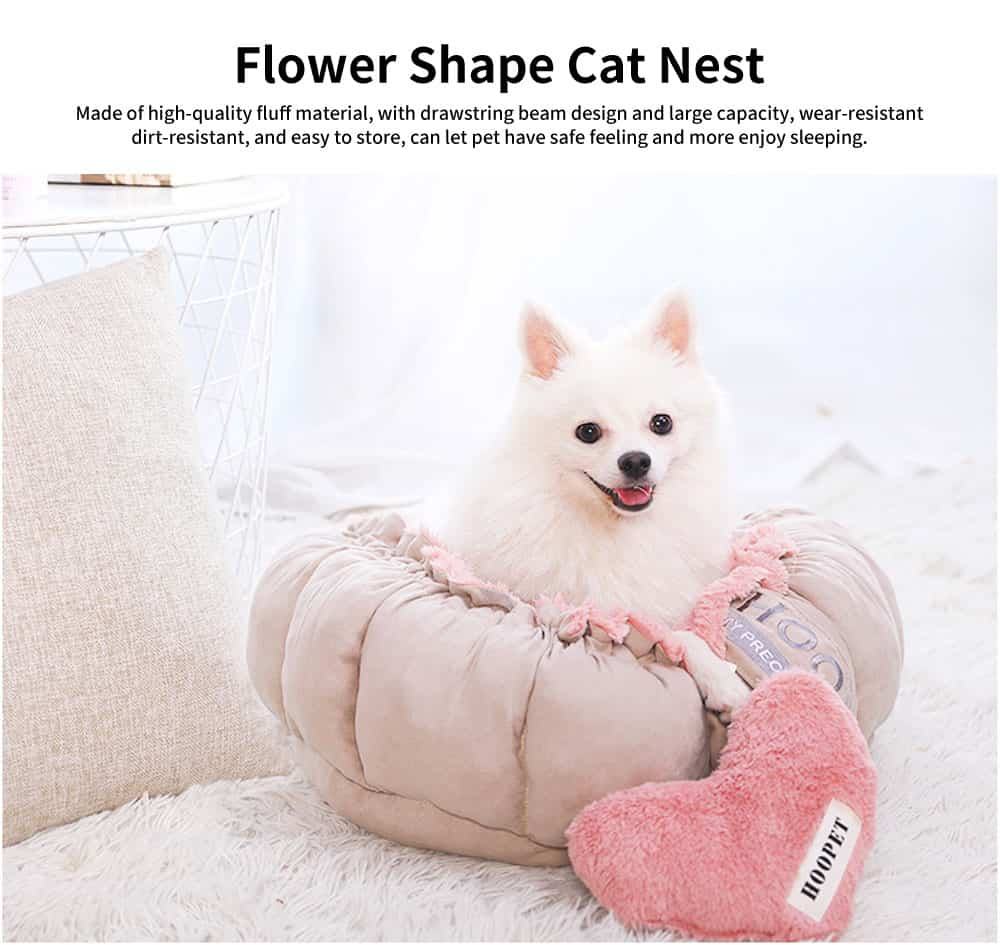 Beautiful Flower Shape Cat Nest, Selected Fluff Pink Round Fluff Nest, with Drawstring Beam Design 0